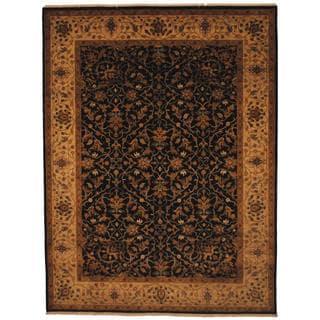 Herat Oriental Indo Hand-knotted Tabriz Black/ Beige Wool Rug (7' x 9'3)