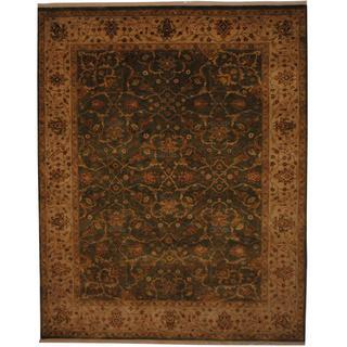Herat Oriental Indo Hand-knotted Tabriz Green/ Beige Wool Rug (7' x 8'9)