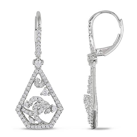Miadora Signature Collection 14k White Gold 3/4ct TDW Diamond Dangle Earrings