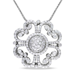 Miadora Signature Collection 14k White Gold 1 1/3ct TDW Diamond Flower Necklace (G-H, SI1-SI2)