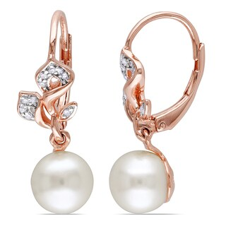 Miadora Rose Plated Silver White Pearl and 1/10ct TDW Diamond Earrings (H-I, I2-I3)