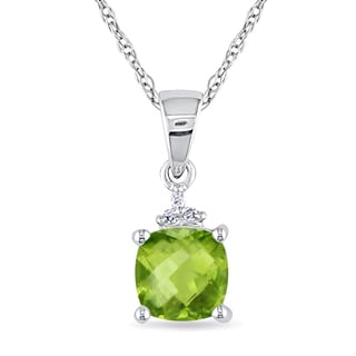 Miadora 10k White Gold 1 1/10ct TGW Peridot and Diamond Accent Solitaire Necklace