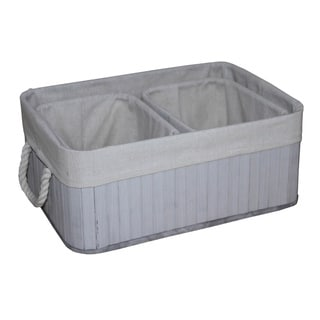 White/ Grey Wood and Fabric Storage Baskets (Set of 3)