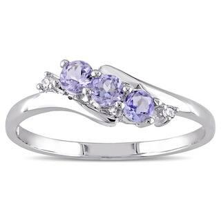 Miadora 10k White Gold Tanzanite and Diamond Accent Three-Stone Ring|https://ak1.ostkcdn.com/images/products/9088411/P16278063.jpg?impolicy=medium