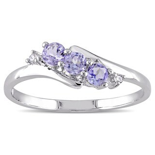 Miadora 10k White Gold Tanzanite and Diamond Accent Three-Stone Ring