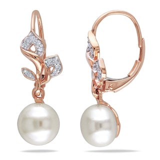 Miadora 10k Rose Gold White Cultured Freshwater Pearl and 1/10ct TDW Diamond Earrings (H-I, I2-I3)
