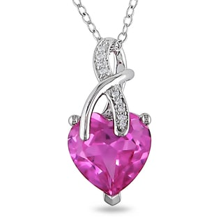 Miadora Sterling Silver Created Pink Sapphire and Diamond Heart Necklace