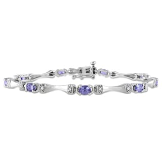 Miadora Sterling Silver Tanzanite and 1/10ct TDW Diamond Bracelet (H-I, I2-I3)