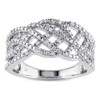 Miadora Sterling Silver 1/5ct TDW Diamond Ring