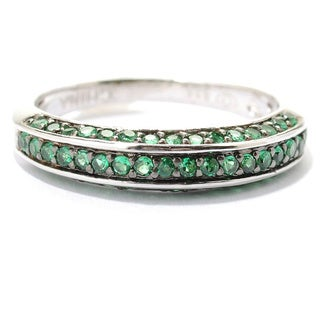 Platinum Plated Sterling Silver Pave Set Cubic Zirconia Half-band Ring