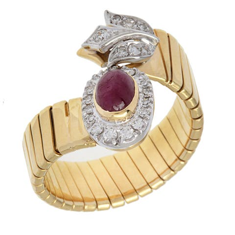 18k Yellow Gold 1/4ct TDW Diamond and Ruby Tubogas Estate Ring (H-I, SI1-SI2)