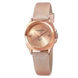 Akribos XXIV Women's Swiss Quartz Diamond-Accented Satin Rose-Tone Strap Watch