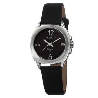 Akribos XXIV Women's Swiss Quartz Diamond-Accented Satin Silver-Tone Strap Watch