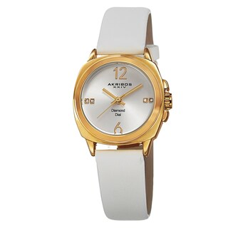 Akribos XXIV Women's Swiss Quartz Diamond-Accented Satin Gold-Tone Strap Watch (Option: White Strap, Gold-tone Case)