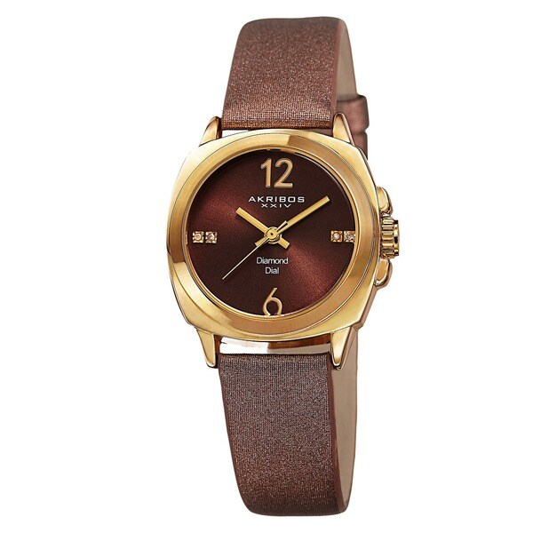 Akribos XXIV Women's Swiss Quartz Diamond-Accented Satin Gold-Tone Strap Watch