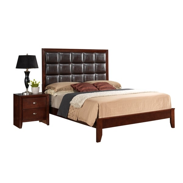 Cherry Brown Tufted Carolina Queen Bed