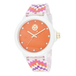 The Macbeth Collection Women's Multi-colored Fashion Rubber Band Zig-zag Watch