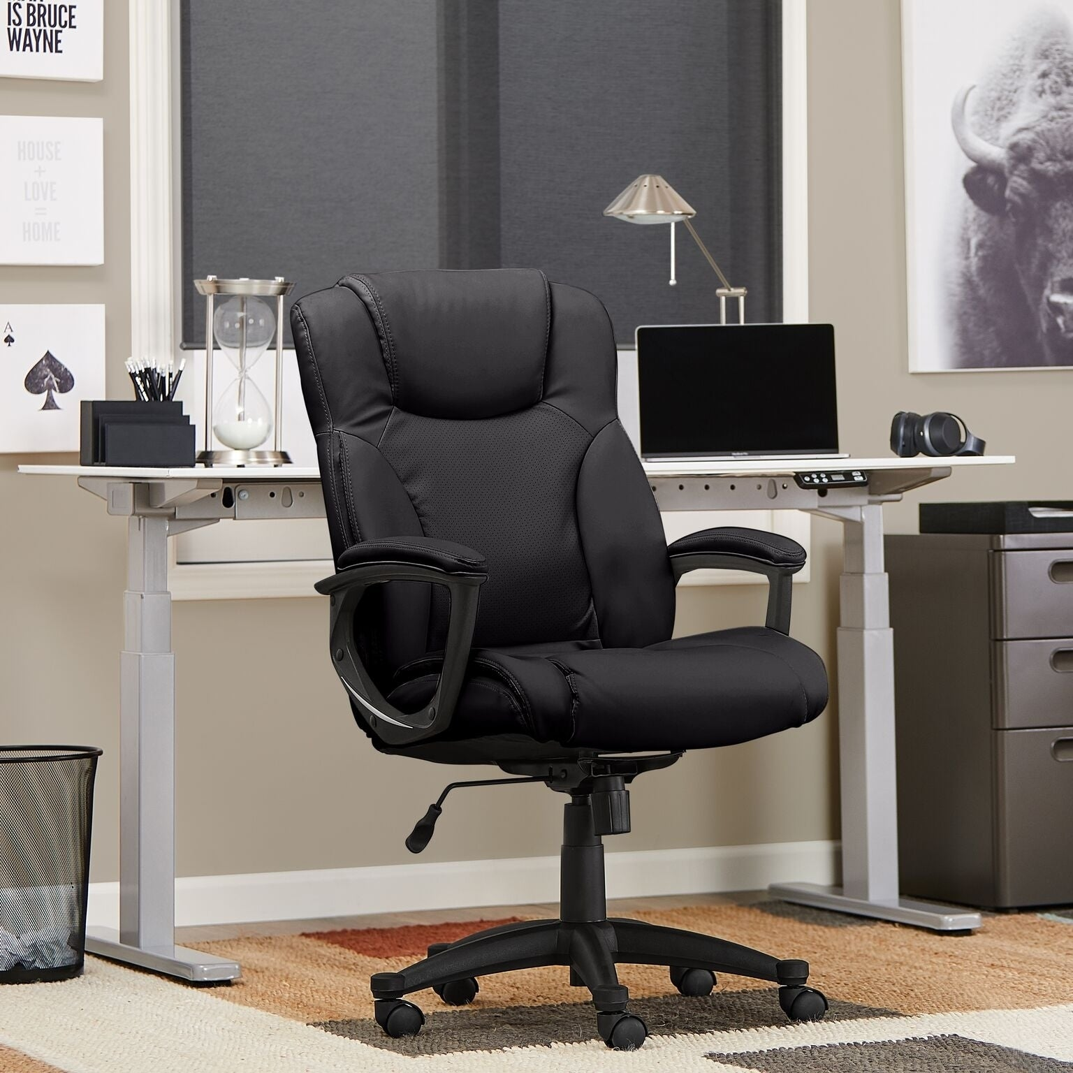 Enjoyable Serta Black Supple Bonded Leather Executive Office Chair Ncnpc Chair Design For Home Ncnpcorg