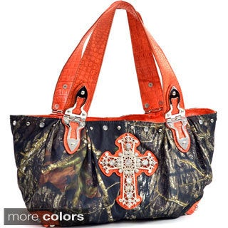 Rhinestone-studded Cross Camouflage Shoulder Bag