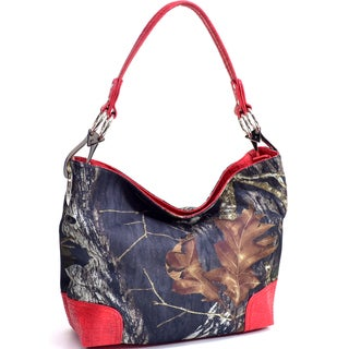 Camouflage and Red Croc-embossed Trim Tote Bag