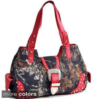 Rhinestone Buckle Studded Camouflage Shoulder Bag