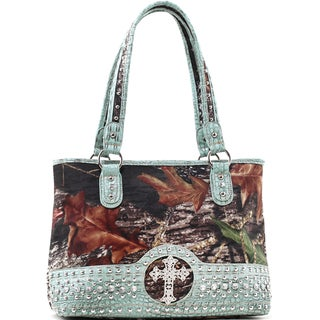 Mossy Oak and Blue Rhinestone Cross Studded Camouflage Shoulder Bag