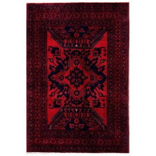 Herat Oriental Afghan Hand-knotted Tribal Khal Mohammadi Red/ Navy Wool Rug (4'4 x 6'6)
