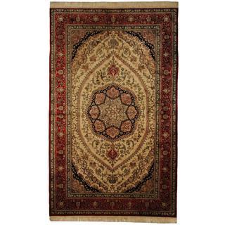 Herat Oriental Sino Hand-knotted Qum Ivory/ Red Wool Rug (5' x 8'3)