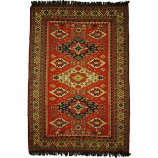 Herat Oriental Afghan Hand-woven Soumak Orange/ Ivory Wool Rug (5'9 x 8'2)