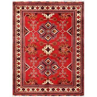 Herat Oriental Afghan Hand-knotted Tribal Kargahi Red/ Ivory Wool Rug (5'1 x 6'7)