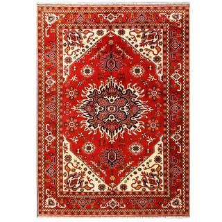 Herat Oriental Afghan Hand-knotted Tribal Kargahi Wool Rug (6'9 x 9'5)