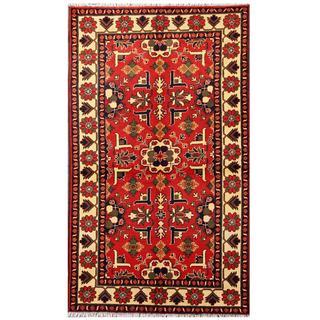 Herat Oriental Afghan Hand-knotted Tribal Kargahi Red/ Ivory Wool Rug (3'10 x 6'6)