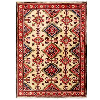 Herat Oriental Afghan Hand-knotted Tribal Kargahi Red/ Ivory Wool Rug (4'11 x 6'9)