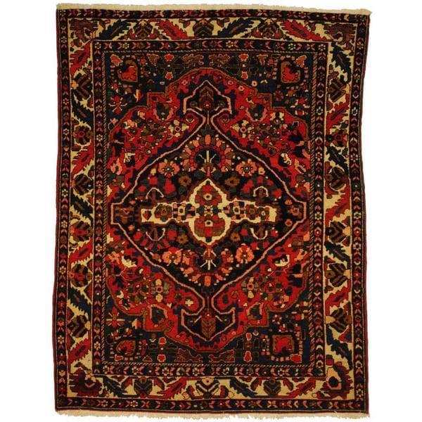 Handmade Herat Oriental Persian 1920s Antique Tribal Bakhtiari Wool Rug (  Iran) - 5&#