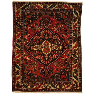Herat Oriental Antique 1920's Persian Hand-knotted Tribal Bakhtiari Navy/ Ivory Wool Rug (5'3 x 6'9)