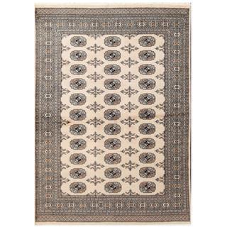 Herat Oriental Pakistani Hand-knotted Tribal Bokhara Beige/ Black Wool Rug (4' x 5'8)