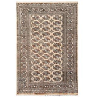 Herat Oriental Pakistani Hand-knotted Tribal Bokhara Beige/ Black Wool Rug (4' x 6')