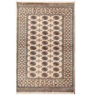 Herat Oriental Pakistani Hand-knotted Tribal Bokhara Beige/ Black Wool Rug (4'7 x 6'10)