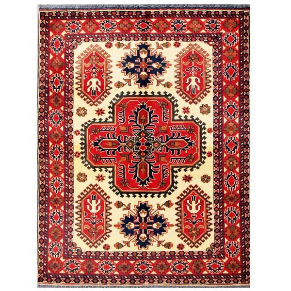 Herat Oriental Afghan Hand-knotted Tribal Kargahi Wool Rug (5' x 6'4)