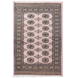 Herat Oriental Pakistani Hand-knotted Tribal Bokhara Purple/ Black Wool Rug (3'2 x 4'10)