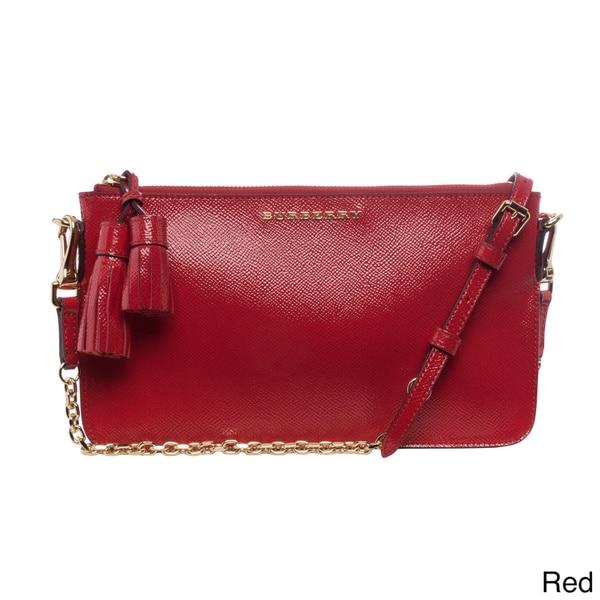 Burberry London Patent Leather Tassel Convertible Shoulder Bag