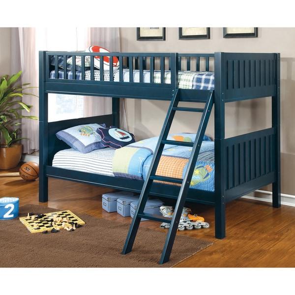 Furniture Of America Jordin Twin Over Twin Blue Bunk Bed