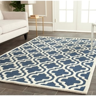 Safavieh Handmade Moroccan Cambridge Navy/ Ivory Wool Rug (12' x 18')