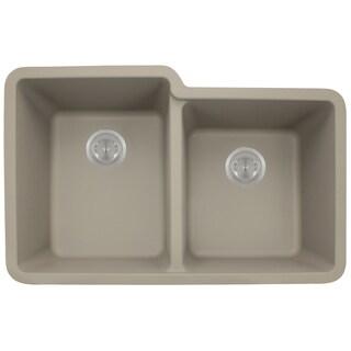Polaris Sinks P108 Slate AstraGranite Double Offset Bowl Kitchen Sink