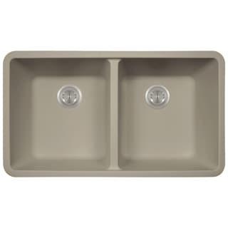 Polaris Sink P208 Slate AstraGranite Double Equal Bowl Kitchen Sink