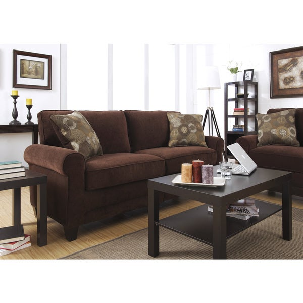 Shop serta rta trinidad collection 78 inch chocolate fabric sofa free shipping today for Living room furniture trinidad