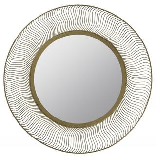 Trish Aged Goldtone Round Mirror