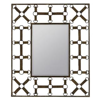 Barthal Rusted Brown D-ring Detail Wall Mirror