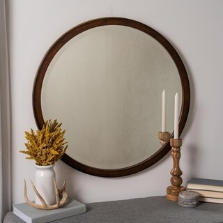 Olaf Mahogany Wood Round Mirror