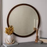 Alton Mahogany Wood Round Wall Mirror